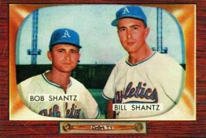 1955 Bowman card of the Shantz brothers